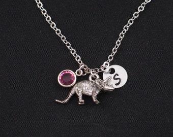 dinosaur necklace, initial necklace, birthstone necklace, silver triceratops charm, birthday present, paleontology, jurassic, dino pendant