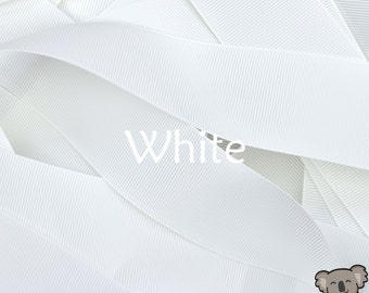 White Grosgrain Ribbon 3 Metre Cut, FREE Shipping, 64 Colours in 7 Widths Available