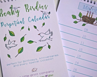 Perpetual Calendar for Birthdays and Anniversaries, Beaky Birdies design