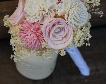 Pink and Cream Bouquet, wedding bouquet, bridal bouquet, sola bouquet, vintage wedding, rustic wedding