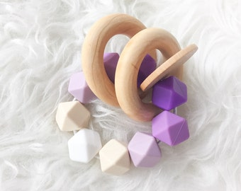 Wooden Teether Wooden teething toy Silicone Teething toy silicone teether waldorf teething toy natural teether purple teether Montessori