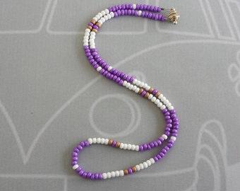 Surfer Necklace, Purple Surfer Necklace, Golf Necklace, Surfer Jewelry, Summer Necklace, Golf Bead Necklace, Beaded Necklace, Surfing