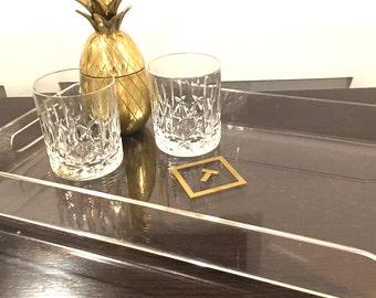 Monogram Serving Tray - Acrylic Tray, Coffee Table Tray, Ottoman Tray, Fixer Upper Decor, Personalized Tray, Monogram Tray, Typography