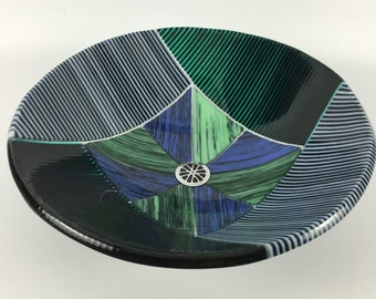 Blue, Green and White Glass Bathroom Vessel Sink