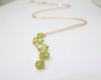 Peridot Necklace, August Birthstone necklace, Cluster, Lariat necklace, Wedding Gift, Custom Birthday Gift, Personalized bridesmaid necklace