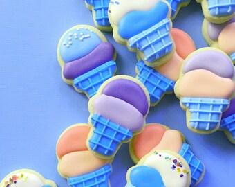 Ice Cream Cone Sugar Cookies - MINI