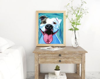 Small Paper Pit Bull print, Pit Bull art print, Dog art, Pit Bull painting, Pit Bull decor, Pit Bull wall art, Pitbull art, dog pop art
