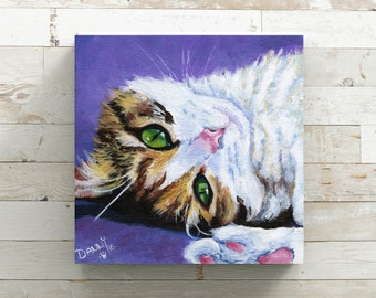 Cat Art - Cat Print - Purple Decor -  Cat Wall Art - Cat Lover Gift - Veterinary Office Decor - Cat Canvas - Cat Portrait - Cat Painting