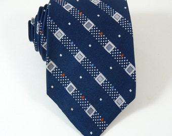 Vintage Tie Wembley 1970s Blue Striped Wide Necktie