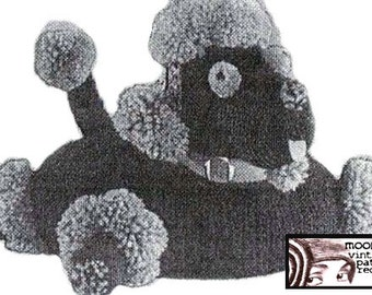 Crochet Poodle Puppy Dog Pillow Cushion Pattern Vintage Kitsch PDF