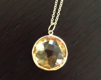 14k solid yellow gold and yellow citrine large pendant charm, gemstone