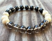 Onyx, Lotus Seed Bead + Smoky Quartz Yoga and Meditation Bracelet with Metal Spacers