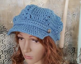 Crochet Hat Newsboy Hat Blue Newsboy Hat Winter Hat