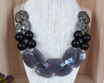 Black & Gray Bead Statement Necklace, Silver Chain Chunky Beads Necklace, Statement Jewelry