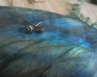 Claw Set Raw Pyrite Stud / Post Earrings