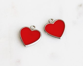P1-416-R-RD] Red Epoxy Heart / 10mm / Rhodium plated / Pendant / 2 piece(s)