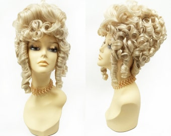 Blonde Colonial Style Costume Wig. Marie-Antoinette Perruque 1700s Fancy Period Style Wig. [114-527-Madame-613]
