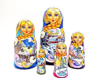 Russian nesting dolls Winter Landscapes, traditional russia countryside wooden matryoshka