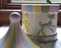 vintage hand painted nursery carousel cookie jar