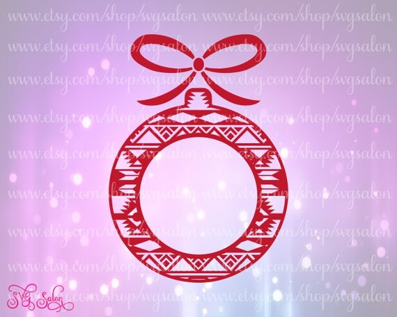 Aztec tribal christmas tree ornament circle monogram by