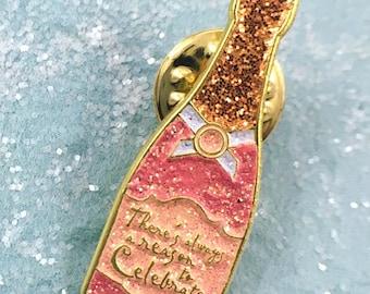 Celebration Champagne Bottle Lapel Pin