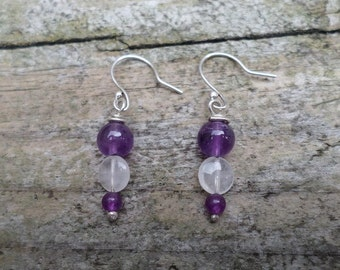 Amethyst and Rose Quartz Beads On Sterling Silver Earrings