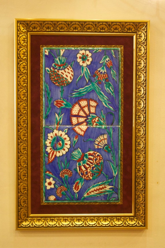 Orriginal Iznik Tile, Quartz Tile, Turkish Tile, Mosque Replica Tile, Replica Tile, Tile Set, Framed Tile, Wall Hanging Tile, Blue Ceramic