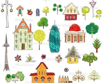 Buy 2 Get 1 Free House Beautiful World Digital Clipart , Art for scrapbooking,Prints
