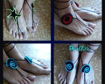 Barefoot Sandal Set of 3, Black Barefoot Sandal, Lace Barefoot Sandal, Barefoot Anklet, Foot Jewelry