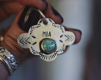 Personalized Pet Tag Sterling Silver and Turquoise