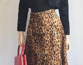 Vintage 1960s Faux Leopard Fur Skirt - 60s Mod Leopard Skin A-Line Skirt - Edie Sedgwick Era Leopard Mod Skirt