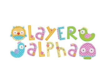 Layer Alpha Applique Machine Embroidery Designs 4x4 5x7 BX Files Included
