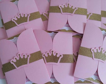 Personalized princess invitation with pink envelopes. Pink and gold invitation