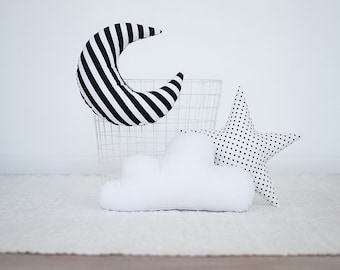 Pillow set Cloud Star Moon shaped pillow -Black and white