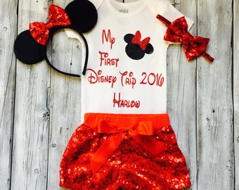 Personalized my first disney trip shirt, my first disney trip, Minnie Mouse, disney shirt, toddler, baby, red and black disney trip