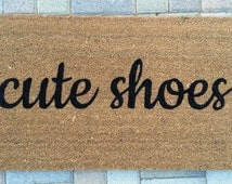 Cute Shoes welcome mat. Hand painted, customizable doormat gives your visitors a warm and clever greeting. Great housewarming gift!