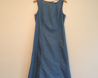 Vtg 90's Liz Claiborne long denim dress / minimal / small