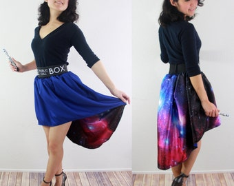 Reversible Tardis Skirt.  It's Bigger on the Inside! Matching Police Box Belt. Doctor Who Clothing. Everyday Cosplay. Galaxy Print Skirt.