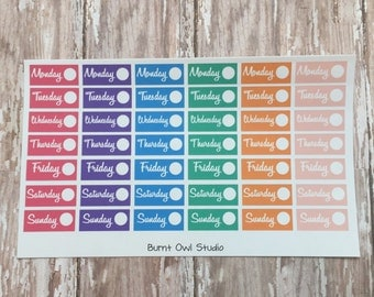 Days of the Week Labels  for the Mini Happy Planner
