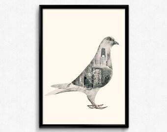 Double Exposure Pigeon Art poster, Urban art print, Contemporary art, Bird print, Home wall decor, Wall art print