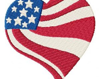 Love Flag Machine Embroidery Design Single - 4x4 Hoop - 4th of July - Instant Download - Celebrate - Heart - Flag - Patriotic