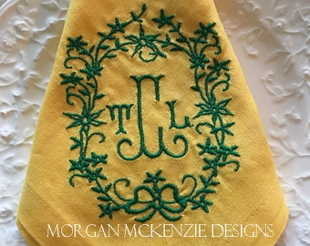 Yellow Buffet Napkins/ Green Wreath Initial Monogram set of 6