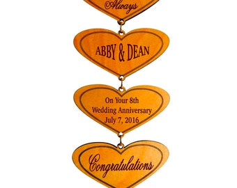 8th Wedding Anniversary Custom Gift, Wall Hearts, Happy Marriage Wishes Decor, Personalized Gift to Couple Friend, Special Couple Gift.