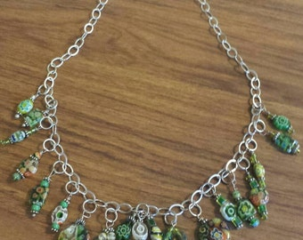 "Sterling Silver 20"" chain w/green multi-colored glass beads"