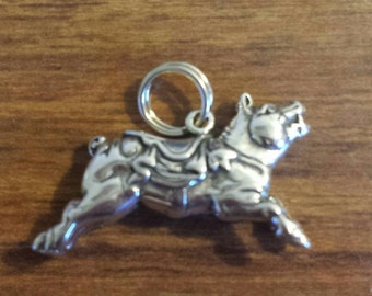 """Sterling Silver """"Carousel Pig"""" charm made by Hand & Hammer Silversmiths"""