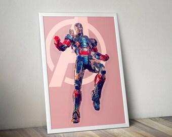 Iron Patriot, Avengers B-Team, Digital illustration - Instant Download Digital File
