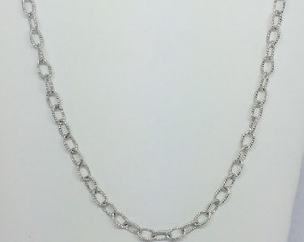 Rhodium Sterling Silver Oval Link Chain