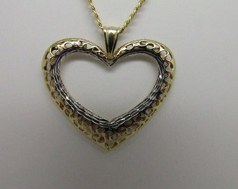 14K Two Tones Open Heart Pendant