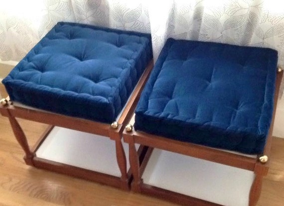 Velvet Seat Cushion Blue Tufted Cushion With By Gratefulhome