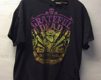 Custom ripped and torn grateful dead t black size large offical merchandise
